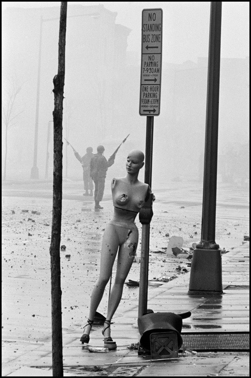 aneleh:  Washington D.C. 1968. Aftermath of the riots the morning after the assassination of Martin Luther King JR., leader of the Civil Rights Movement. Photo by Burt Glinn.