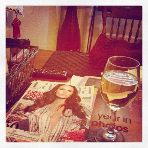 Unwinding with a stack of embarrassingly girly magazines and plum wine. Yes, it's been that sort of week. #letgo