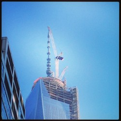 Not the best angle, but they are topping off #wtc1 at 1776 ft. #longTimeComing ^ps (at The Awesome Place)