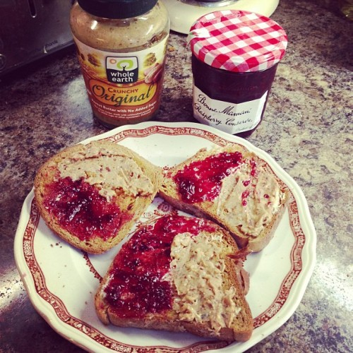 Morning 😁 Peanut Butter and Jam on gluten free brown bread. Mmmmm! #glutenfree #instafood
