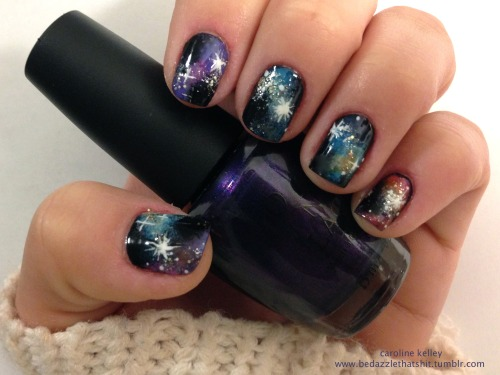 First attempt at galaxy nails, they're kind of a nail artist prerequisite.   I found that those small makeup sponges that come in drugstore palettes work well for blending while maintaining precision.