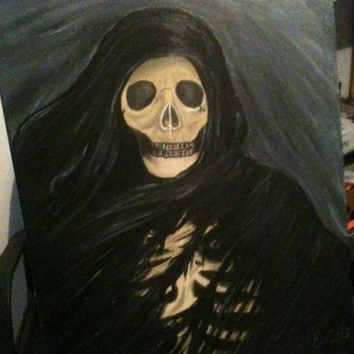 Okay, so I did another painting.. #painting #acrylic #acrylicpaint #skeleton #reaper #skull #death #darkness #madebyme #art #artwork