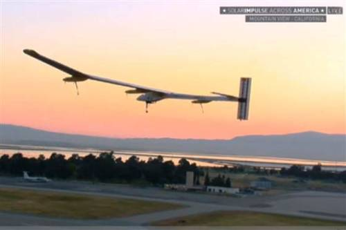 "breakingnews:  Solar-powered plane starts cross-country journeyNBCNews: A Swiss-made, solar-powered airplane called Solar Impulse took off Friday morning on the first leg of an aerial odyssey across America, beginning what's expected to be the slowest flight from San Francisco to Phoenix with nary a drop of fuel.Adventurer Bertrand Piccard piloted the craft, which has the wingspan of a jumbo jet but the weight of a typical passenger car, from Moffett Field into the Bay Area's skies at 6:12 a.m. ET (9:12 a.m. ET) and headed south toward Arizona.""Everything looking fine down here,"" Mission Control told Piccard after takeoff.More from NBCNews here.  Considering international flights use five gallons of fuel per mile, this seems like a possible long-term solution to solving the high energy usage of airplanes."