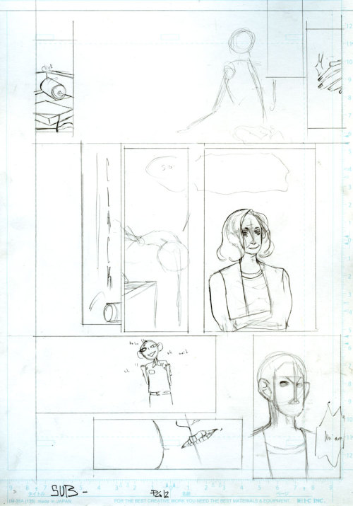 subthecomic:  Here are scrapped pages, as well as pages that where abandoned due to script re-writes and a little sketching I've done for this project thus far. :-) This projects been really great.  Interesting, too, because I tend to use comics to gain closure on events in my life or emotions that where difficult to cope with (as exemplified by my other works).  I looked at my years in high school a lot for this project and I think it's allowed my to heal some.  As well as begin to looking at the events in my life at the time through a more objective leans and analyze the decisions that where happing around me.  Anyways! now I'm just babbling, haha! Enjoy the images! LOVE A.a