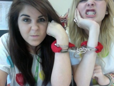 this is one of my favourite pictures ever  me and gracie handcuffed for 24 hours for charity, literally didn't take them off for a whole day