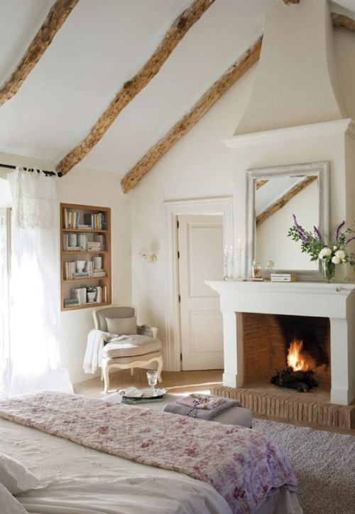 bed + fireplace