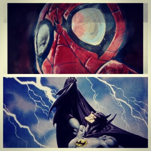 Jess and I need help deciding who is better; batman or spider-man. #spiderman #batman #dcu #marvelcomics #itbetterbebatman  (at the batcave)