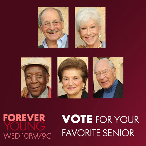 Vote For Your Favorite 'Forever Young' Senior http://bit.ly/11cQ3iS  Forever Young is on Wednesdays at 10PM/9C. See what people have to say about it: http://youtu.be/fCFHrz3lv6g