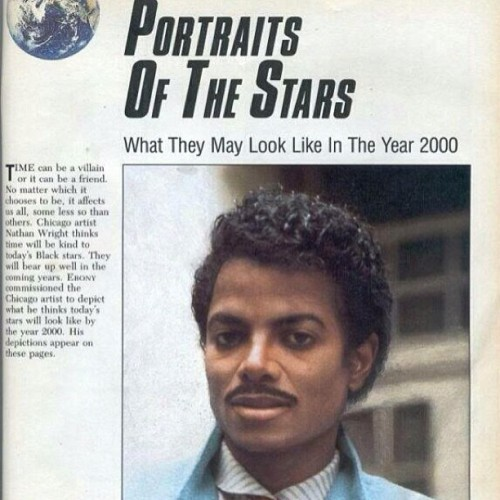 ifuknewnanya:  From Ebony Magazine 1985. Prediction of what MJ would look like in the year 2000