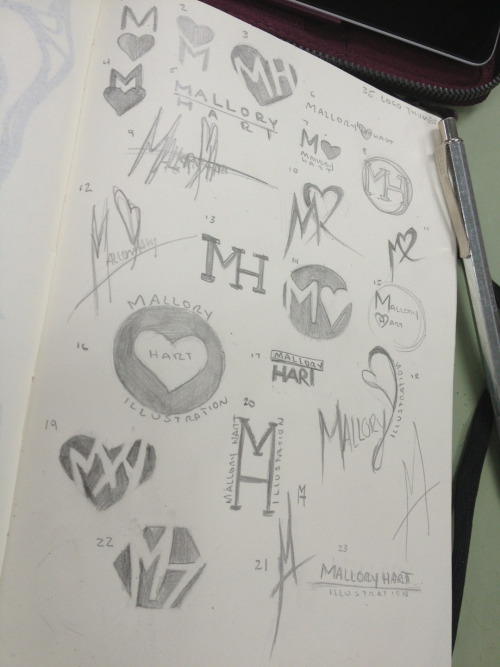 malloryhartart:  Working on some new logo ideas and stuff. I'll probably stick with what I have now but brainstorming new ones is always fun!