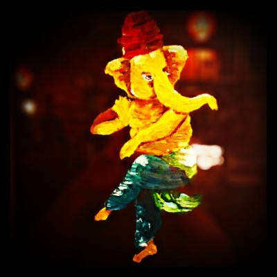 Who knew #Ganesh was a #Devo fan? ;)  #EnergyDome #Austin #Art #FlightPathCoffee (at Flightpath Coffeehouse)
