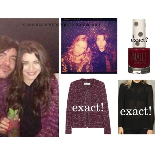 Eleanor at a NYE Party wearing this jacket by Etoile Isabel Marant and possibly this nail polish! The shirt is sold out at Urban Outfitters.