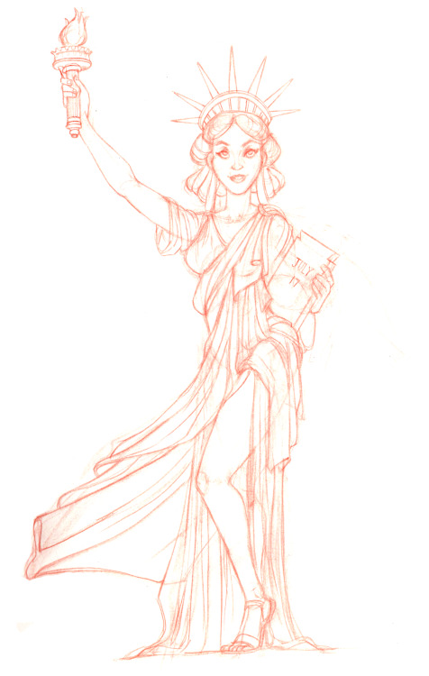 A preliminary sketch for a digital painting I plan to do for class. The assignment was to make the Statue of Liberty look like it was drawn in Haddon Sunblom's style.I got a quick critique from my teacher, who suggested I push the contrapposto and make her face more realistic. I have a tendency to do that to faces, and to make them too big.