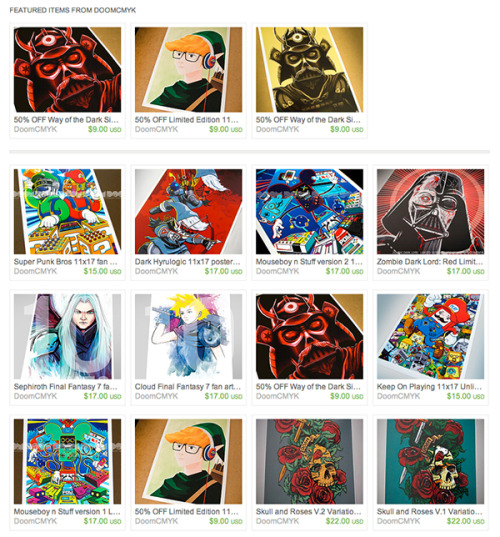 ETSY SALE! All of my artwork is on Sale. 3 of them are 50% OFF. I plan to work on Original prints from now on with a few fan art 1 of 1s in the future.