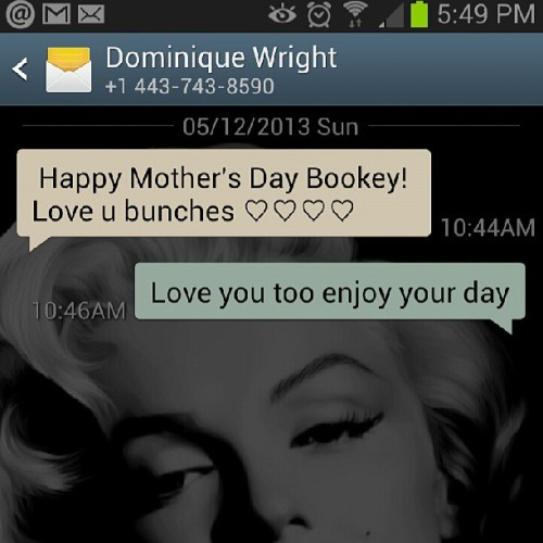 Happy mothers day wishes from one of my favorite ladies love you boo
