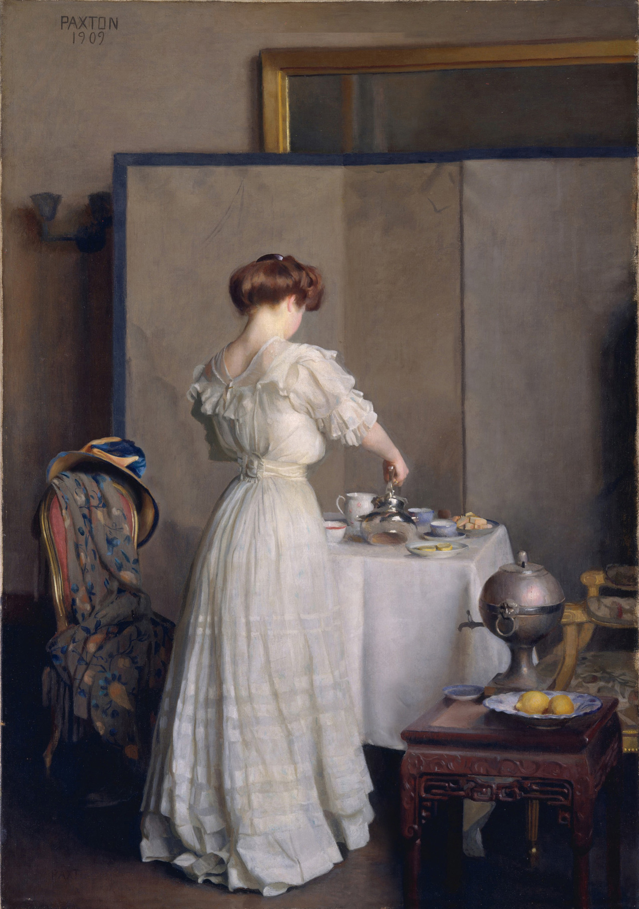 lostsplendor:  Tea Leaves by William McGregor Paxton, 1909 (by Plum leaves)