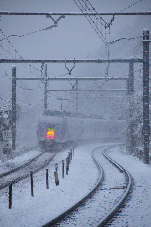 travelingcolors:  Snowy Super Express | Japan (by Takechi Kimura)