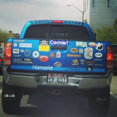 "My favorite? ""I express my individuality through mass-produced bumper stickers."" (at Salt Lake City, UT)"