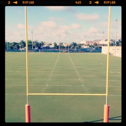 dolphinsmedia:  The sun is shining, the grass is painted and the goal posts are up… #itsourtime #rookiecamp (at Miami Dolphins Training Facility)