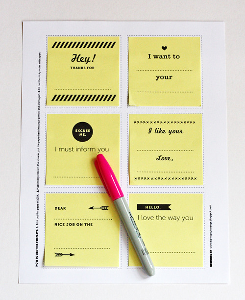 DIY Fill In The Blank Post-It Notes Free Printables from How About Orange here. Kind of like Mad Libs for Valentines Day.