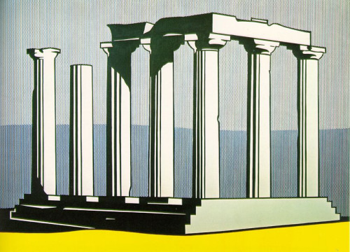 museumuesum:  Roy Lichtenstein Temple of Apollo, 1964 Oil and magna on canvas, 94 X 128 inches
