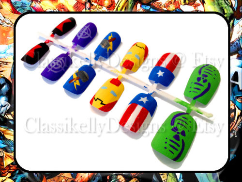 Manicure Monday: Avengers Nail Set, by ClassikellyDesigns