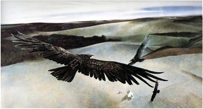 "parkstepp:  CaptionAndrew Wyeth, ""Soaring,"" Tempera, 1950 ""If we are always arriving and departing, it is also true that we are eternally anchored. One's destination is never a place but rather a new way of looking at things."" —Henry Miller, from Big Sur and the Oranges of Hieronymous Bosch(New Directions, 1957)Optional"