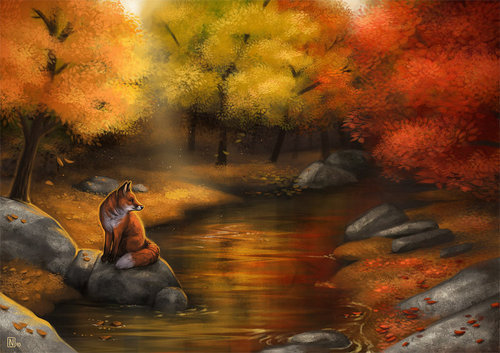 A Fox by the Riverside by ~Nimrais