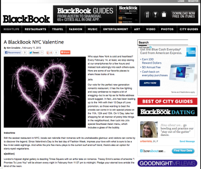 Jo's Restaurant on A BlackBook NYC Valentine day round up of where to go http://www.blackbookmag.com/nightlife/a-blackbook-nyc-valentine-1.58502?PQId=1.53774 …