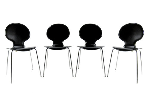 "Set of Four Leather Upholstered ""Ant"" Chairs"