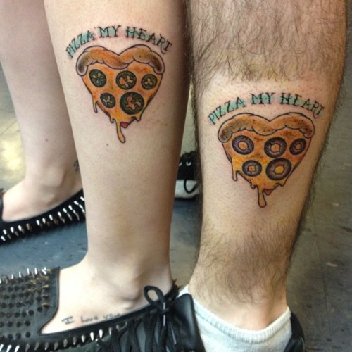 reblogged from fuckyeahtattoos:  My boyfriend and I got matching tattoos for our 2 year anniversary, he likes olives on his pizza and I like jalapenos. Done by Temo at Adornment Private Piercing and Tattoo Studio in Palm Springs, CA  Nothing says I love you like pizza.