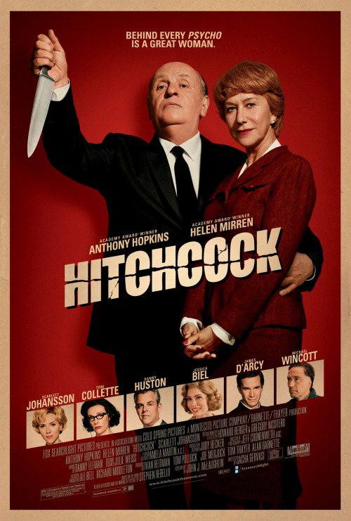Hitchcock (2012) I wasn't too enthused about seeing this film because the trailer made it seem like it was basically a comedy, but, while there are light and comedic moments (which I did appreciate), they don't make up the entire film. I quite enjoyed it overall. Psycho (1960) is my favourite Alfred Hitchcock film, and I loved seeing all the scenes of them making it. I kind of wish there had been more. I liked how it opened and closed like an episode of Alfred Hitchcock Presents. Anthony Hopkins was excellent and completely disappeared into the character. The rest of the cast were fine too. The major thing I wasn't that keen on was how it focused so much on Hitchcock's relationship with his wife. It just wasn't all that interesting to me. Oh well, it's still a very solid film about a legendary filmmaker.