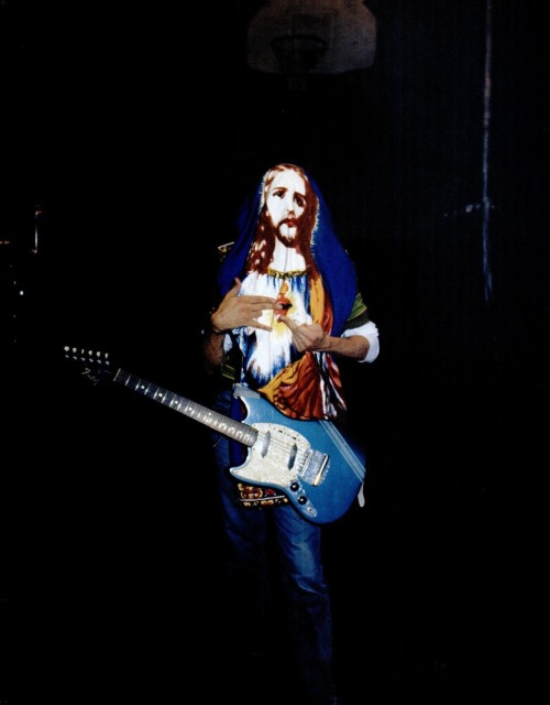 "Kurt Cobain during the filming of the ""Smells Like Teen Spirit"" music video, 1991."