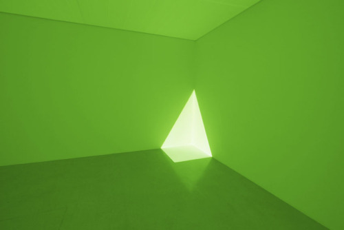 "thouartredrose:  James Turrell. Alta Green.  ""Working out of a small studio in the area of Venice, California in the early 1970s Turrell began his exploration with projected light, as seen in the documented works below. Setting up a slide projector mounted to the ceiling of the room via a platform, Turrell painstakingly experimented with conventional 35mm slide frames masked off with opaque silver tape in various shapes registgered to the geometry of the corner of the studio into to generate what appears to be a three dimensional volume of brilliant light."""