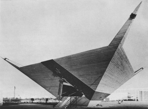 fuckyeahbrutalism:  Pavilion of the City of Casablanca, International Fair of Casablanca, Morocco, 1960 (Jean-François Zevaco and E.J. Duhon)