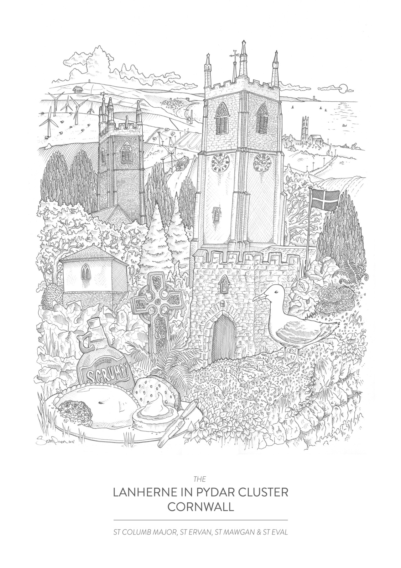 The Lanherne In Pydar Cluster of Churches | Fine liner on paper / 329 x 483mm  The four churches my Dad looks after down in Cornwall