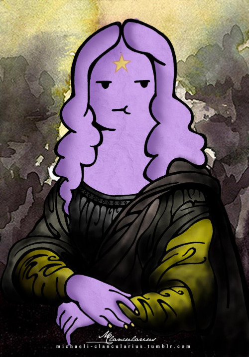 michaeli-clancularius:  Lumpy Space Lisa Created: March 24 - March 25 Subject: Lumpy Space Princess + Lisa del Giocondo Materials: Sharpie + Pentel needle tip pen + Adobe Photoshop CS6 Genre: Digital Painting; Fan Art  Oh my glob, this is amazing!!