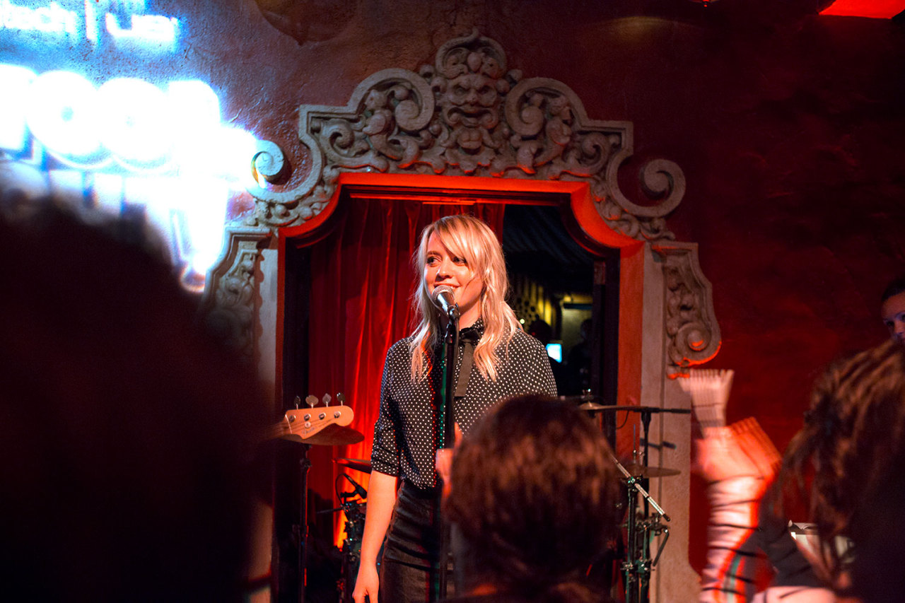 Alexz chats to audience. Alexz Johnson plays School Night at Bardot in Los Angeles. December 3, 2012.