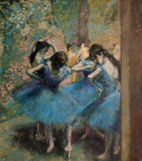 seabois:  Dancers in blue Painting by Edgar Degas