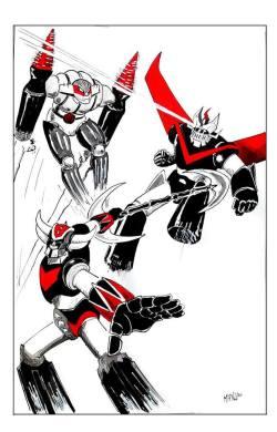 Jeeg Robot dacciaio, il Grande Mazinga e Goldrake: robot trinity team-up. Illustrazione di Emanuele Califano Lidak.