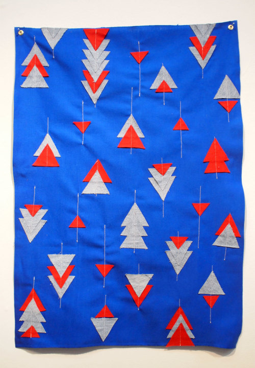 "Julia KoralUntitled, 2013Applique (denim, felt, cotton blend)36"" x 25"" CURRENT BID: $60 - (JM)NEXT BID: $85 BUY IT NOW: $300 INQUIRE"