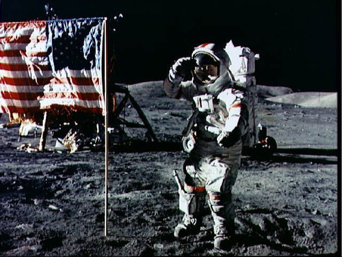 Astronaut Eugene Cernan salutes deployed U.S. flag on lunar surface by NASA Goddard Photo and Video on Flickr.Via Flickr: Astronaut Eugene A. Cernan, Apollo 17 commander, salutes the deployed U.S. flag on the lunar surface during extravehicular activity (EVA) of NASA's final lunar landing mission in the Apollo series. The lunar module is at the left background and the lunar roving vehicle, also in background, is partially obscured. The photo was made by Astronaut Harrison H. Schmitt, lunar module pilot. NASA Identifier: NIX-AS17-134-20380
