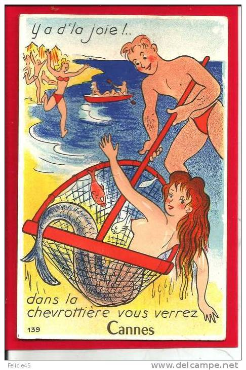""" Mermaid Captured In Cannes ""  …   Vintage Postcard"