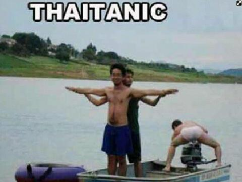 I'm not sure which is more disturbing, the two guys reinacting titanic or the guy bending over showing his buns