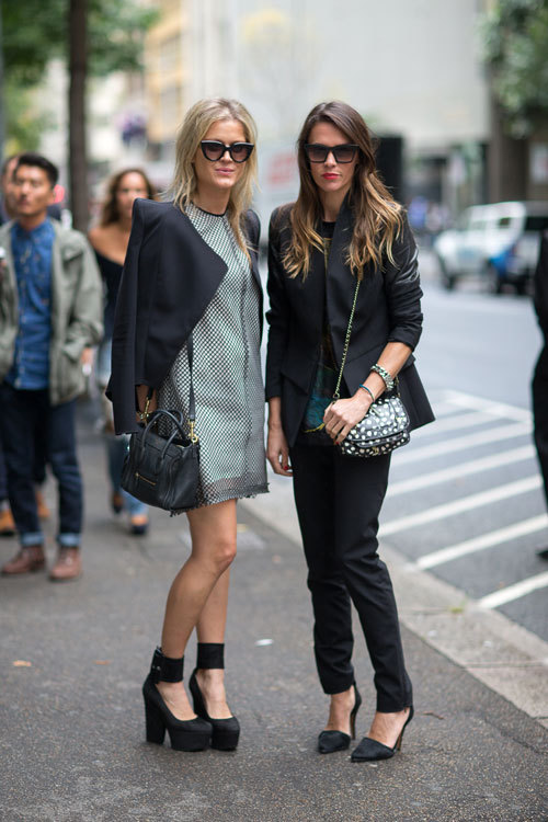 what-do-i-wear:  Showgoers in Céline bag and shoes (left) and Alexander Wang shoes (right).  Australia Fashion Week Style Spring 2013 (image: harpersbazaar)