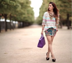 Loving this outfit! The textures and patterns and colors are all so interesting, well done! Shop this look on StyleSays.com