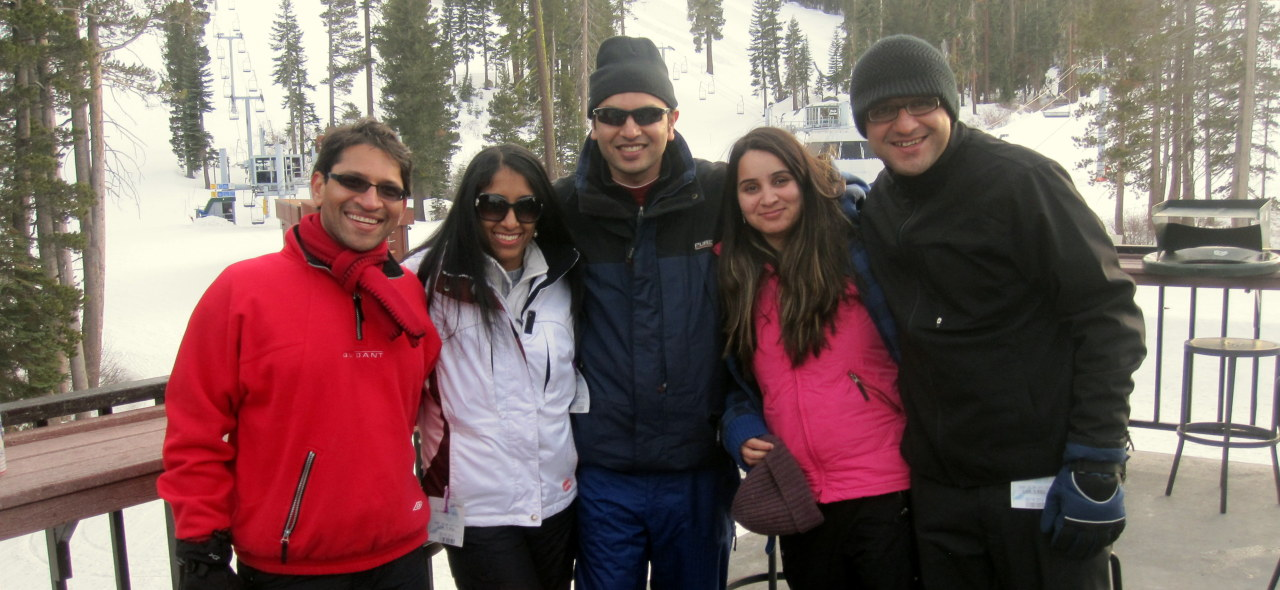 Smiles after a long day of skiing! Went to South Lake Tahoe during President's Day weekend (Feb 2013) with my classmates from Stanford and their wives. It was a great trip - we skied, did some sledding and had a great time.  People in this picture (from left to right): Jay, Saya, Ankur, Isha and Abeer