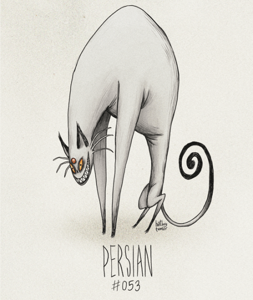 hatboy:  Persian #053 Part of The Tim Burton x PKMN Project By Vaughn PinpinDid Giovanni ever use his Persian for a battle? Or was it more of for sinister stroking in the shadows?