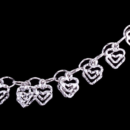 Silver bracelet, hearts. Length: 17-20cmSilver bracelet, Ag 925/1000. Rhodium-plated. Exceptionally romantic bracelet made with fine ovals.…View Post