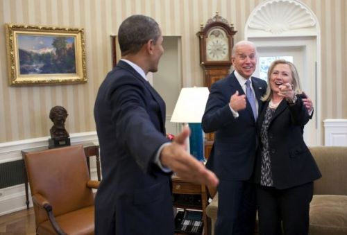 "barackobamalaughingwithjoebiden:  Jan. 30, 2012""This is one of those rare instances where my presence indirectly became a part of this reaction from those pictured in the photograph. Secretary of State Hillary Clinton had just accidentally dropped all of her briefing papers onto the Oval Office rug and she, the President and Vice President all reacted in a way that indicated that surely I wouldn't get a photo of that to embarrass her."" (Official White House Photo by Pete Souza)"
